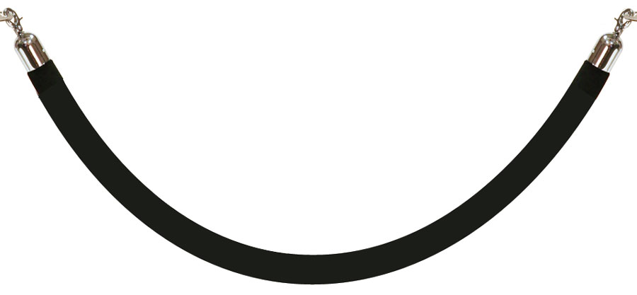 Stanchion, 6' rope, Black