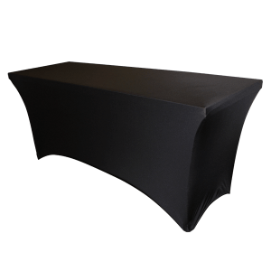 "Spandex, Black, Accommodates 6' x 30"" Rectangle Table"