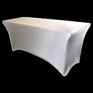 "Spandex, White, Accommodates 8' x 30"" Rectangle Table"