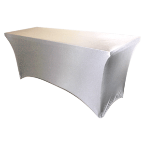 "Spandex, White, Accommodates 6' x 30"" Rectangle Table"