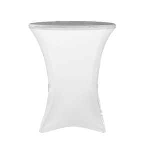 "Spandex, White, Accommodates 42"" Tall Cocktail Table"