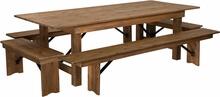 "Rustic Farm, 8' x 40"" w/ 4 benches"